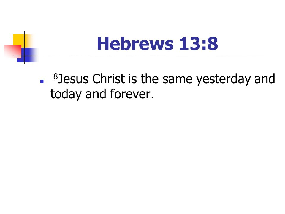 Hebrews 13:8 8Jesus Christ is the same yesterday and today and forever. [Have your youth read the passage]
